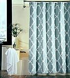 Shower Curtain Moroccan Tile Quatrefoil Spa Blue & White