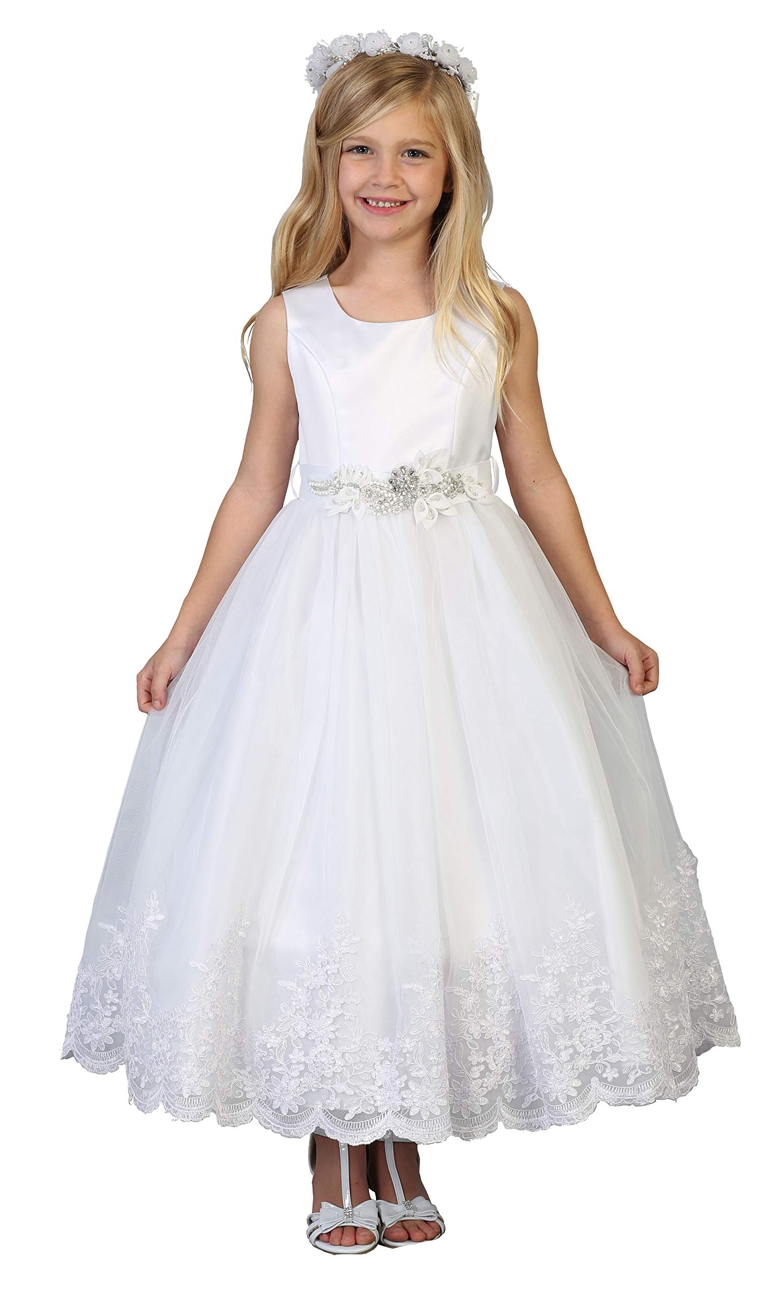 Big Girls' White First Communion Flower Girl Pageant Dress 3730 Size 18