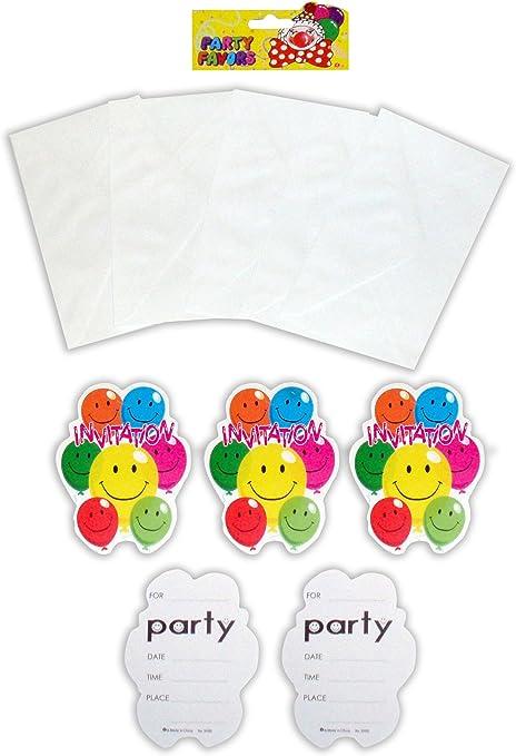 Pack de 10 invitaciones, sonriente, globos fiesta de cumpleaños: Amazon.es: Hogar