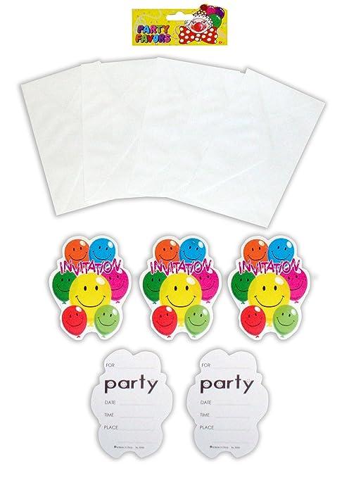Pack de 10 invitaciones, sonriente, globos fiesta de ...