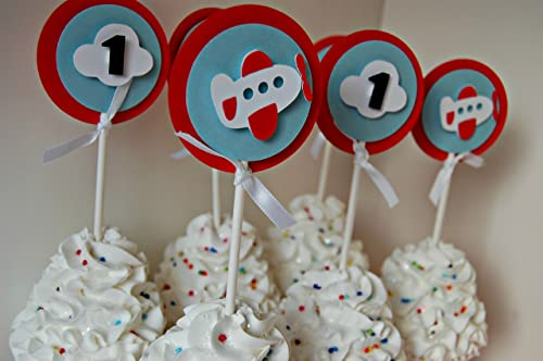 set of 12 Airplane Pilot Basic Birthday Party Cupcake Toppers