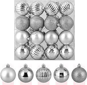 Zogin Adornos de Adornos navideños Bolas de árbol de Navidad inastillables Decoraciones Bola Colgante para decoración de Navidad (Plata, 32piezas-40mm): Amazon.es: Hogar