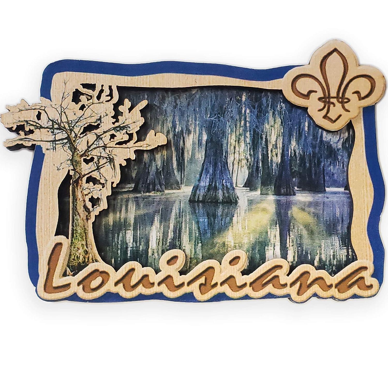 Louisiana Souvenir Wooden Cypress Swamp Magnet
