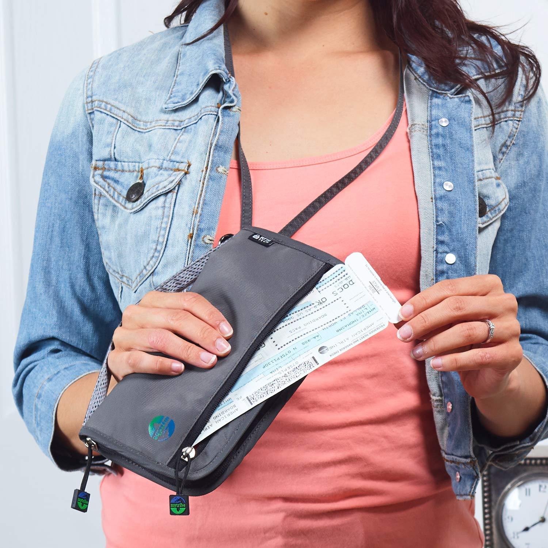 Azarxis Travel Family Passport Wallet RFID-Blocking Document Organizer Case Ticket Holder with Zipper for Women /& Men Fits 8 Passports