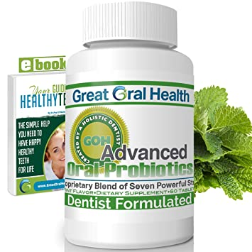 Chewable Oral Probiotics~Dentist Formulated 60 Tablet Bottle~Attack Bad  Breath, Cavities and