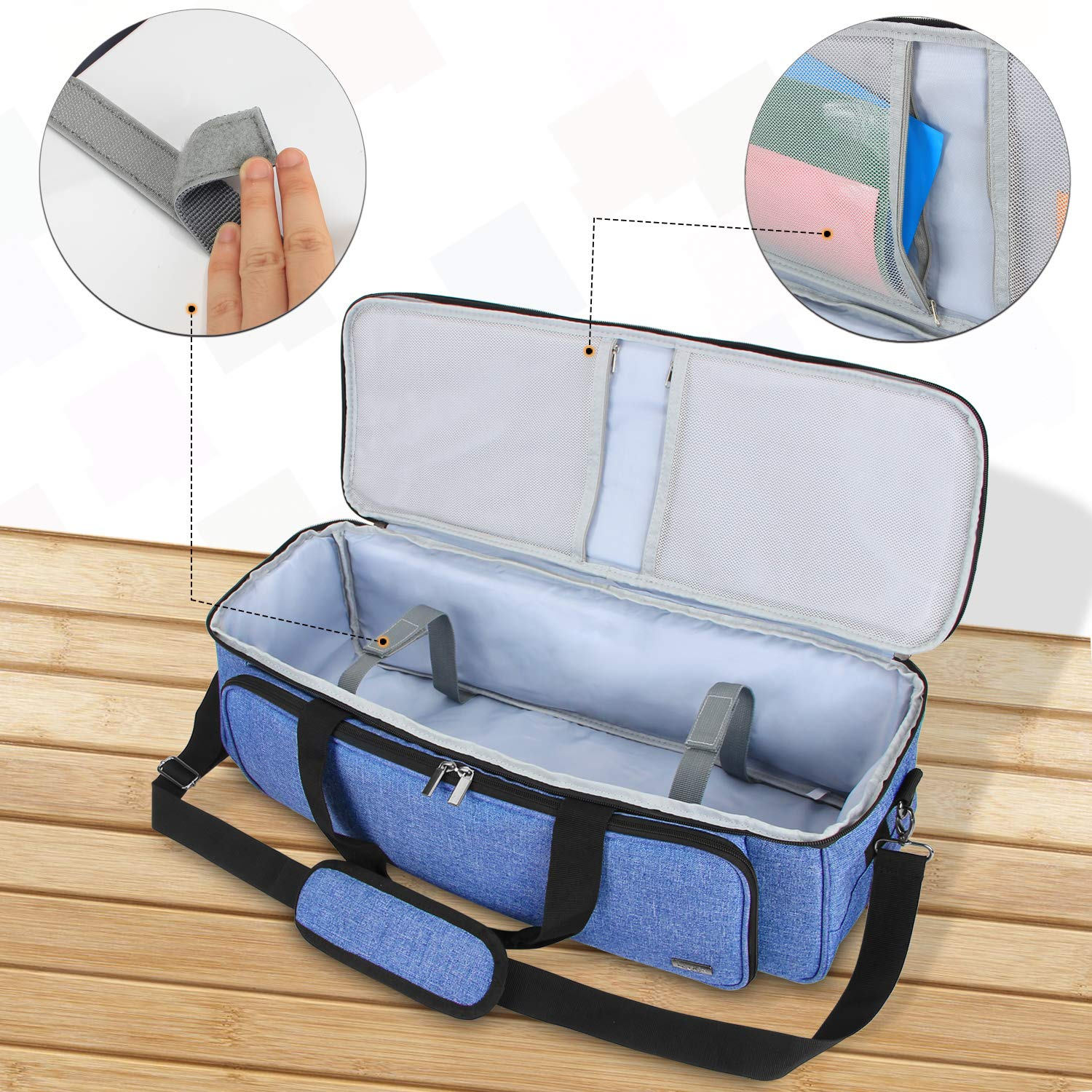 Luxja Carrying Bag Compatible with Cricut Die-Cutting Machine and Supplies Tote Bag Compatible with Cricut Explore Air and Maker Air2 Bag Only, Patent Pending Blue