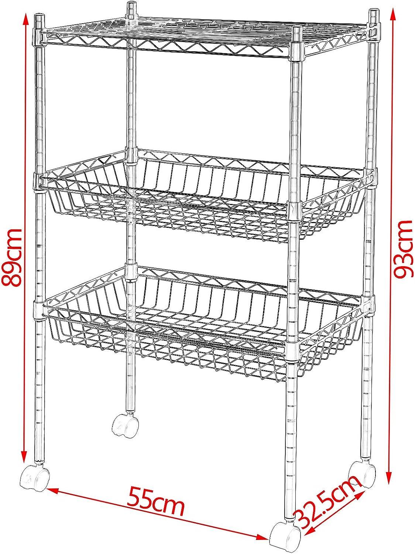 EUGAD Carrello da Cucina Bagno con Ruote e Vassoio Mobile Scaffale Regolabile Multiuso a 3 Ripiani Acciaio 55/×93/×32,5cm 0014CC