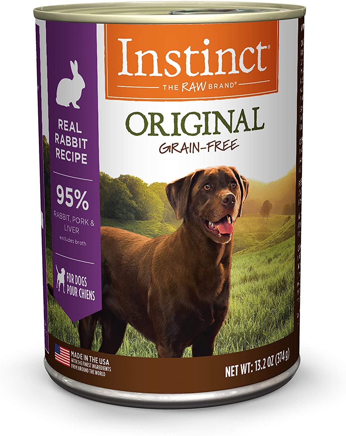 Instinct Original Grain Free Real Rabbit Recipe Natural Wet Canned Dog Food by Nature's Variety, 13.2 oz. Cans (Case of 6)