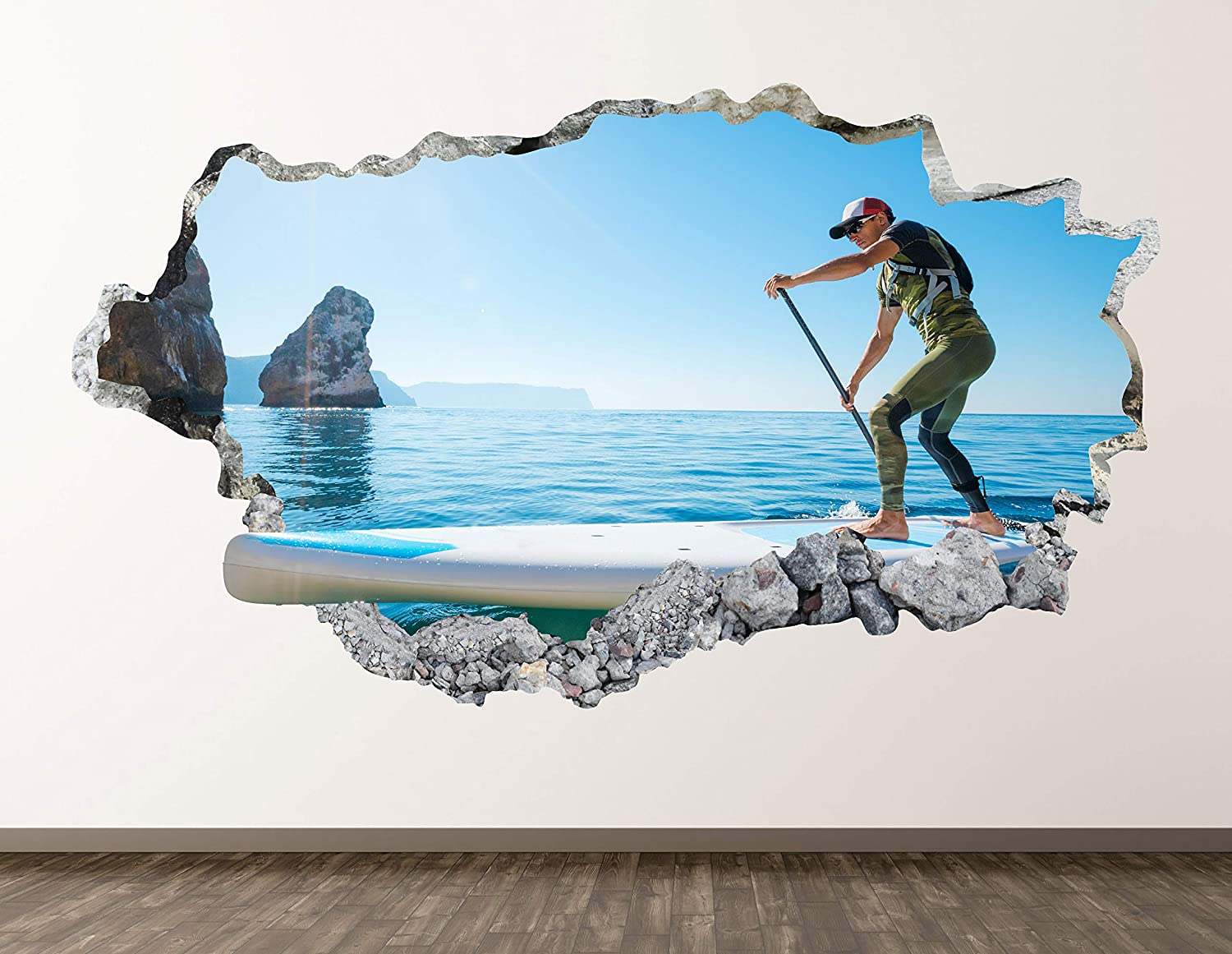 West Mountain Paddle Board Wall Decal Art Decor 3D Smashed Beach Sport Sticker Poster Kids Room Mural Custom Gift BL424 (30