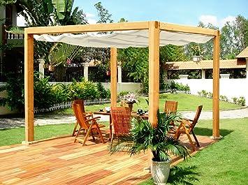 "Jardín Verde - Pérgola classica de madera ""Romana"" con cubierta de tela resistente"