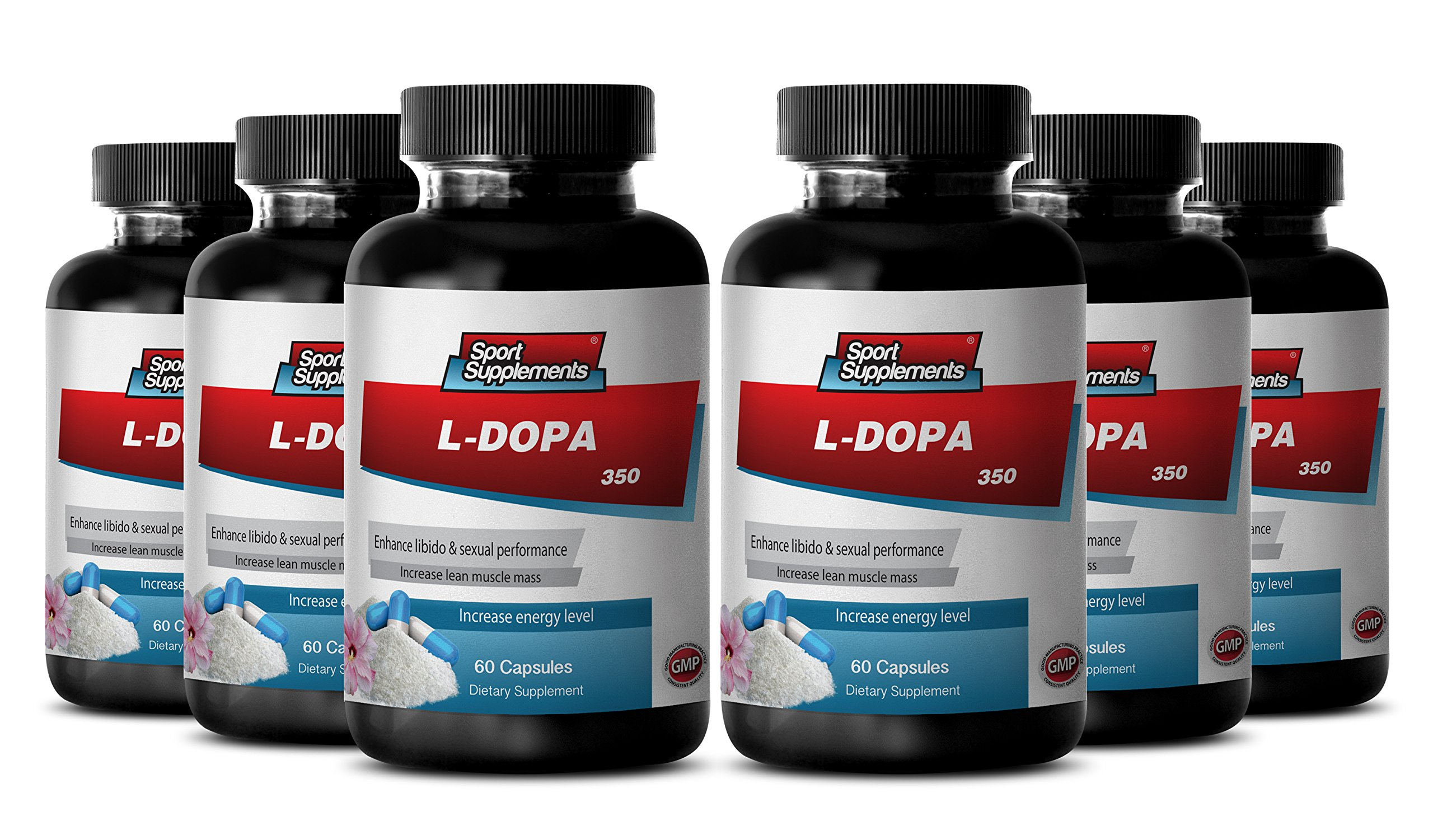 Organic Mucuna Pruriens Powder - L-Dopa - Herbal Energy Support with l dopa (6 Bottles 360 Capsules)