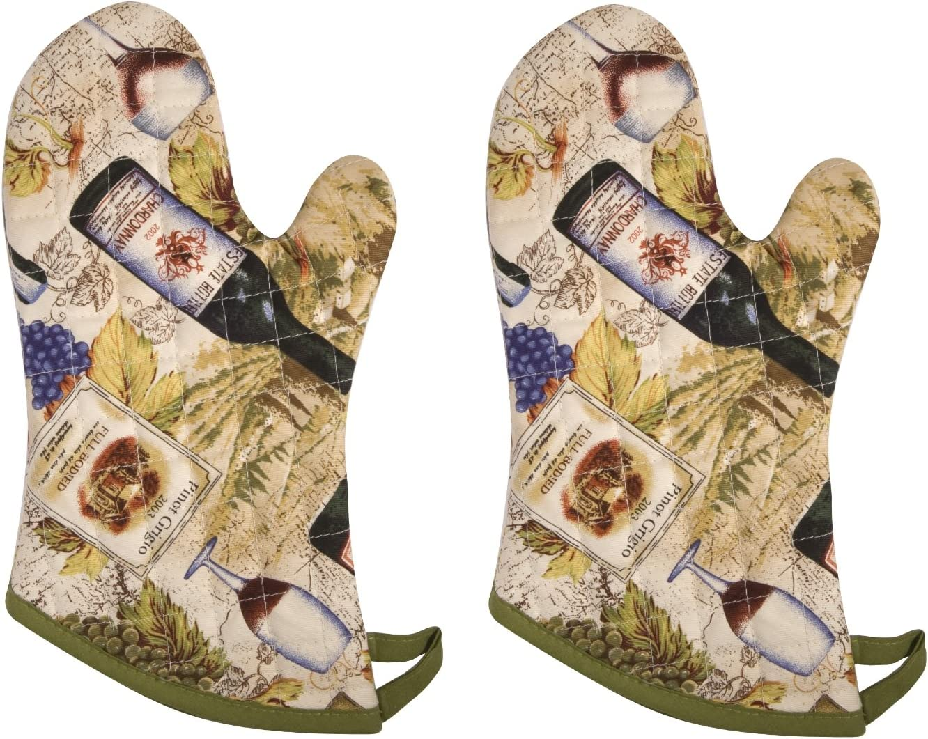 Now Designs Basic Oven Mitts, Wine Labels, Set of 2