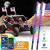 OHMU 2Pcs 3FT Bluetooth and Remote Control LED Whip Lights with Flag Pole 360° Spiral RGB Chase Light Offroad Warning…