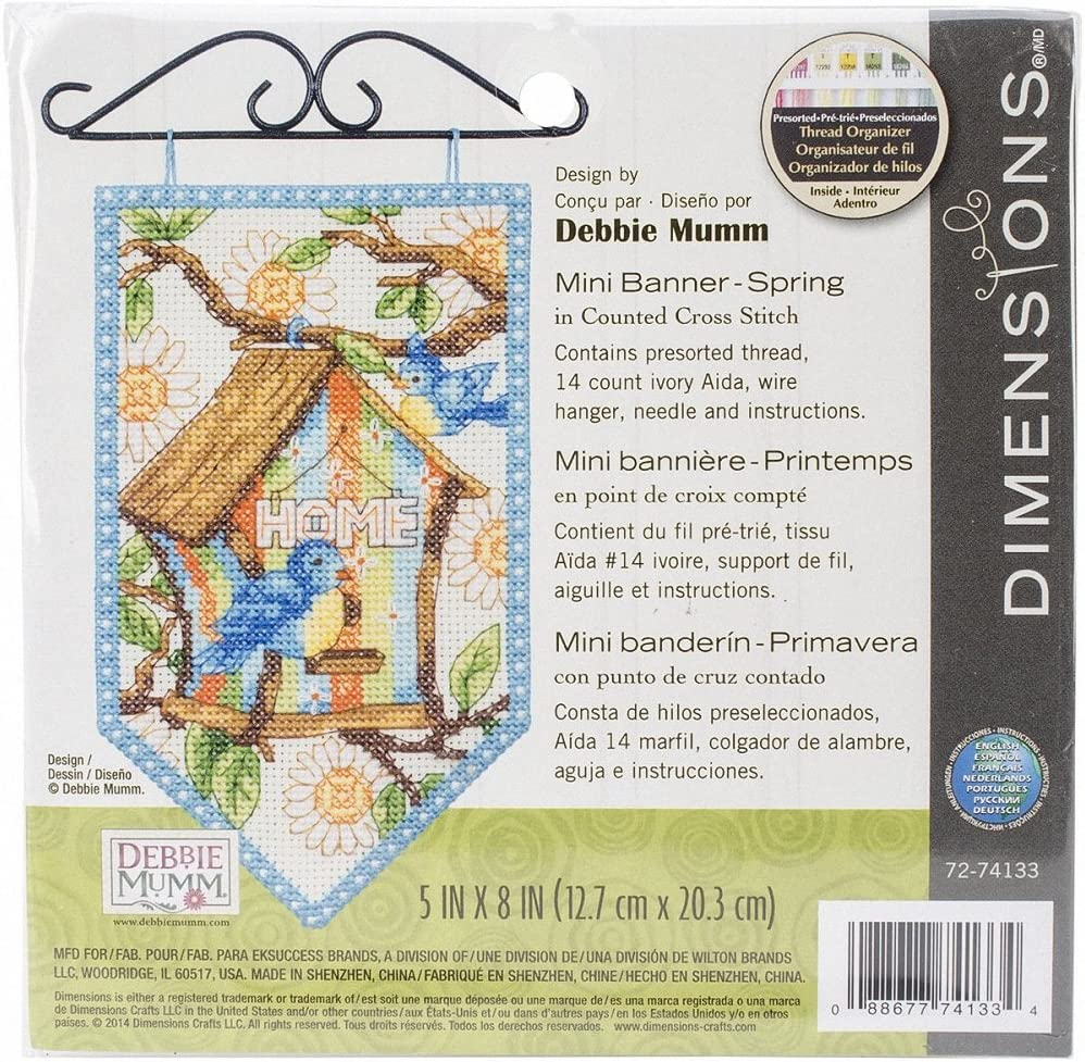 """Dimensions Debbie Mumm Spring Banner Counted Cross Stitch Kit-5/""""X8/"""" 14 Count"""