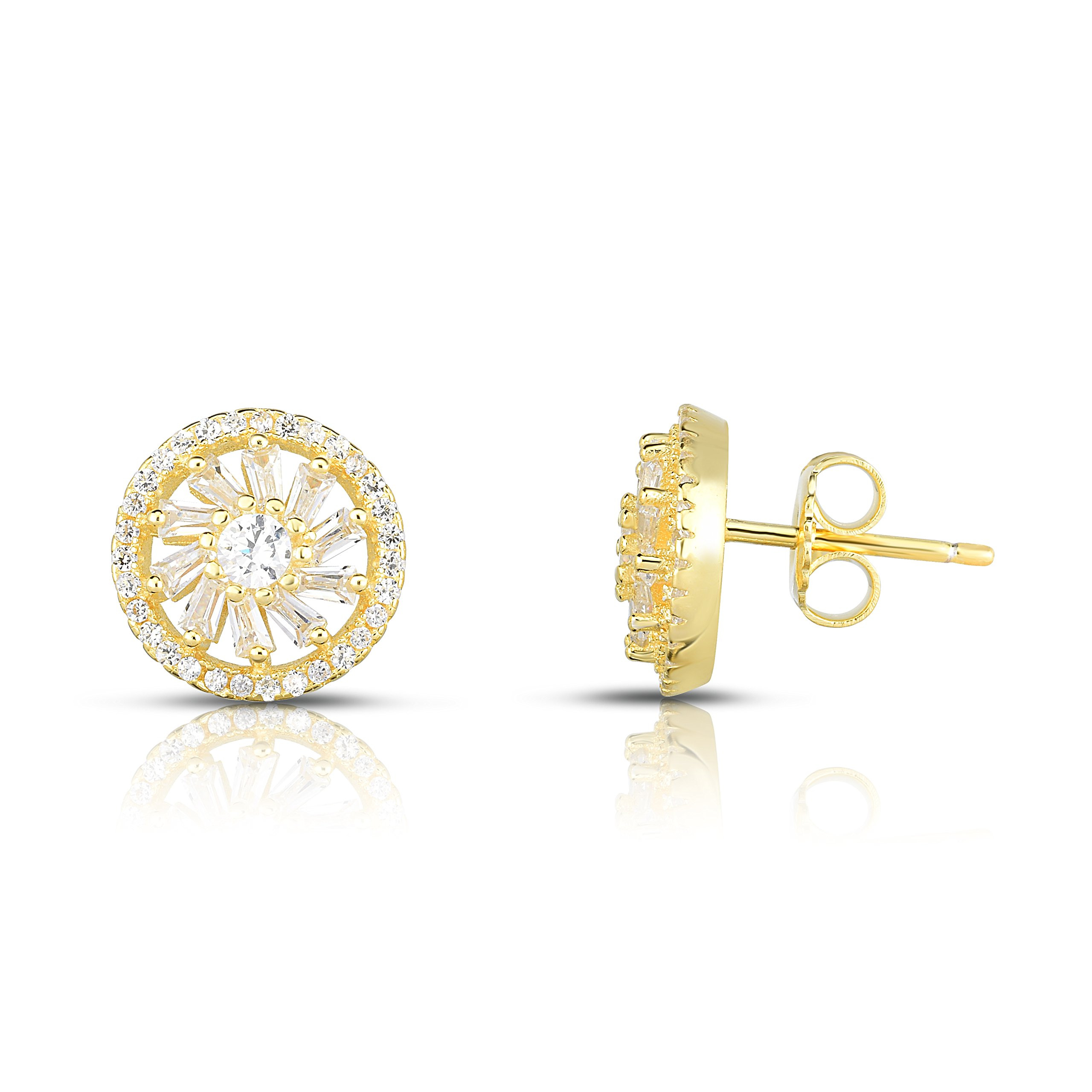 Spoil Cupid Yellow Gold-Plated Sterling Silver Cubic Zirconia Double Halo Stud Earrings