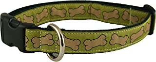 "product image for Bones Pattern Hemp Canvas Dog Collar (3/4"" Small, Pistachio)"