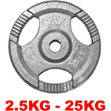 """TNP Accessories® Cast Iron Standard 1"""" Radial TRI-GRIP Hammertone Disc Weight Plates EZ Bar Curl Barbell Dumbbell Weight Plate Fitness Gym 2.5kg to 25kg Weights Set"""
