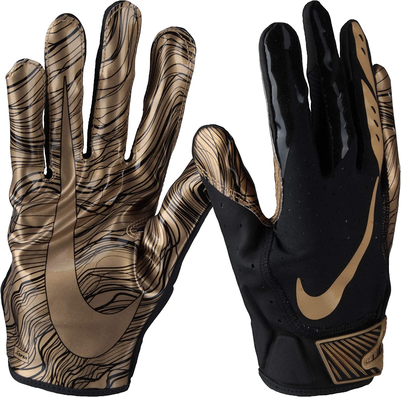 Derritiendo paño todo lo mejor  Amazon.com : Nike Men's Vapor Jet 5.0 Football Gloves (Black/Metallic Gold,  X-Large) : Sports & Outdoors