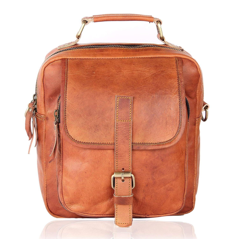 Vintage brown leather crossbody bag business men/'s briefcase shoulder school bag