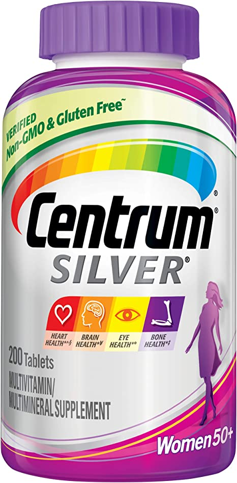 Centrum Silver Multivitamin for Women 50 Plus, Multivitamin/Multimineral Supplement with Vitamin D3, B Vitamins, Calcium and Antioxidants - 200 Count + 2 Free Months of obé Fitness