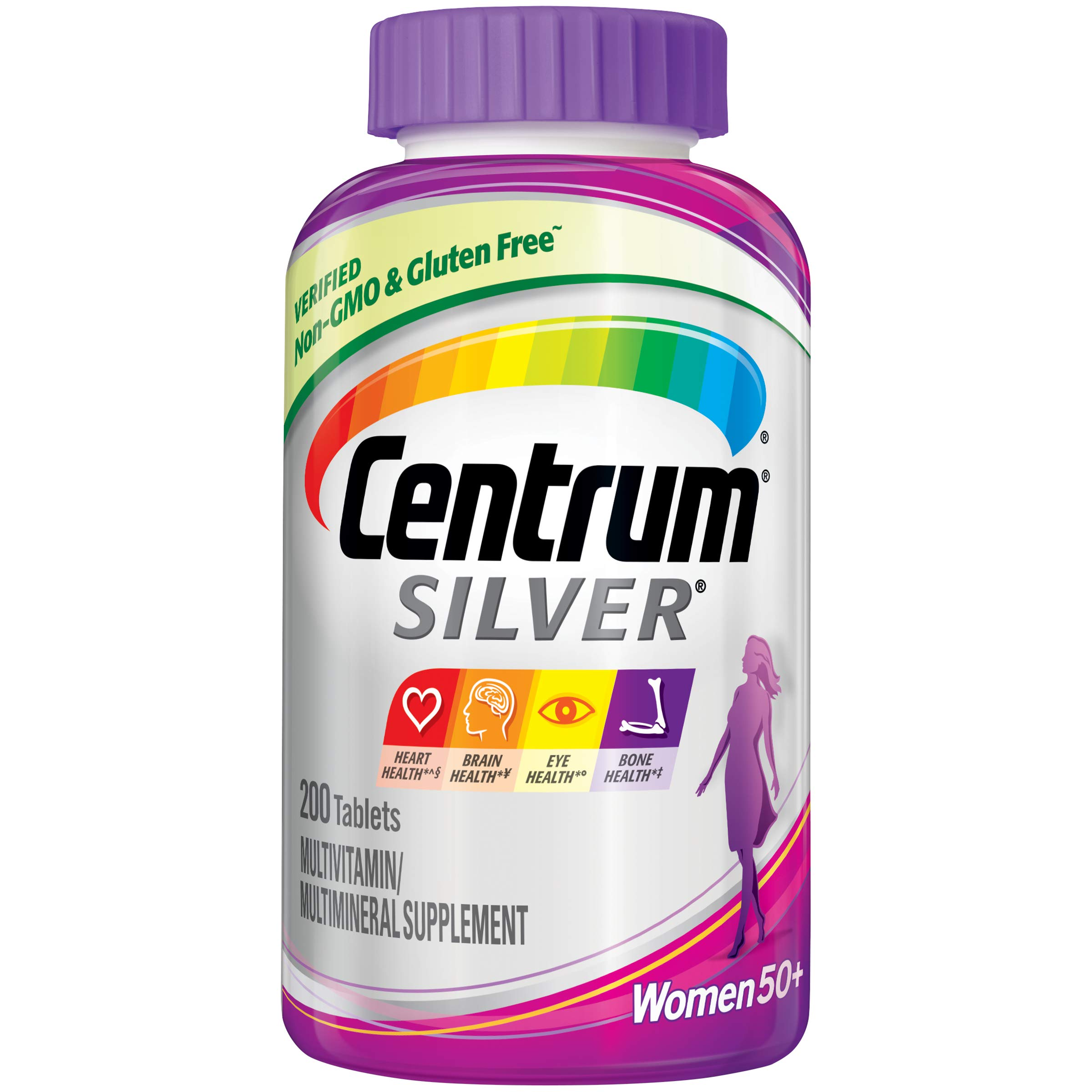 Centrum Silver Multivitamin for Women 50 Plus, Multivitamin/Multimineral Supplement with Vitamin D3, B Vitamins, Calcium and Antioxidants - 200 Count