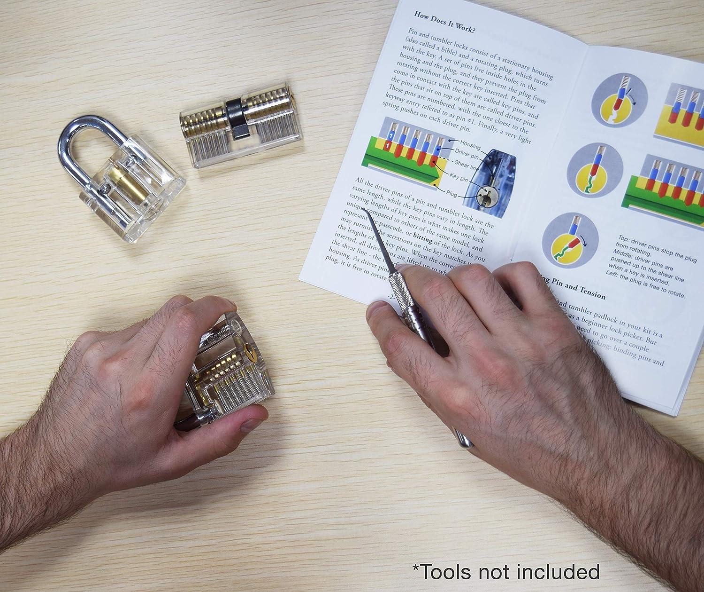6 cerraduras transparentes para la pr/áctica de coger cerraduras Juego de cerradura de pr/áctica idioma espa/ñol no garantizado gu/ía visual incluida