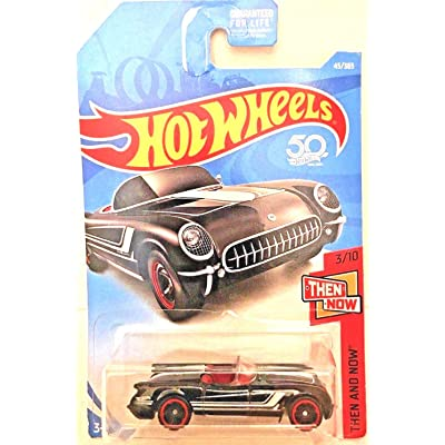 Hot Wheels 2020 50th Anniversary Then and Now '55 Corvette 45/365, Black: Toys & Games