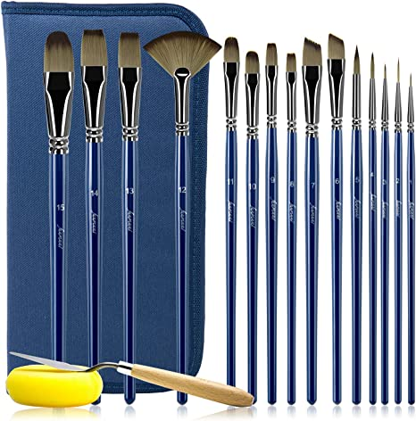 Adults /& Kids Perfect Gift for Artists Paint Brush Set With Travel Case Nylon Hair Paintbrushes for Acrylic Watercolor Oil Gouache Paint