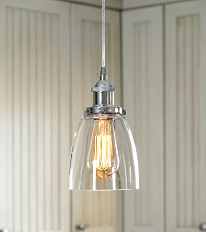 LightLady Studio Mini Glass Pendant Light Kitchen Pendant - Silver kitchen pendant lighting