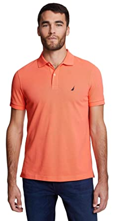 Nautica Mens Slim Fit Short Sleeve Solid Polo Shirt, CoralOrange ...