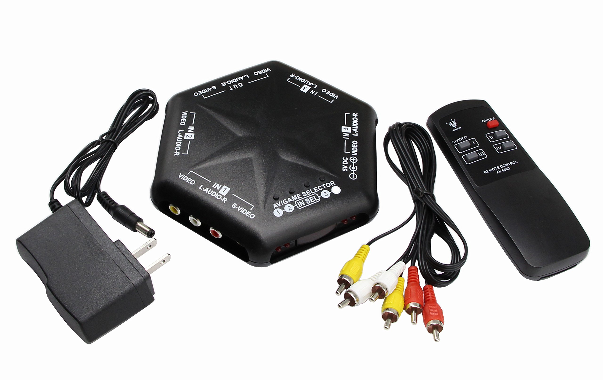 RCA Splitter with 4-Way Audio Video,4 Port Input 1 Output Audio Video AV RCA Switch 4 Ways Selector Splitter Box for DVD STB Game Consoles (4 in 1 Out- A)