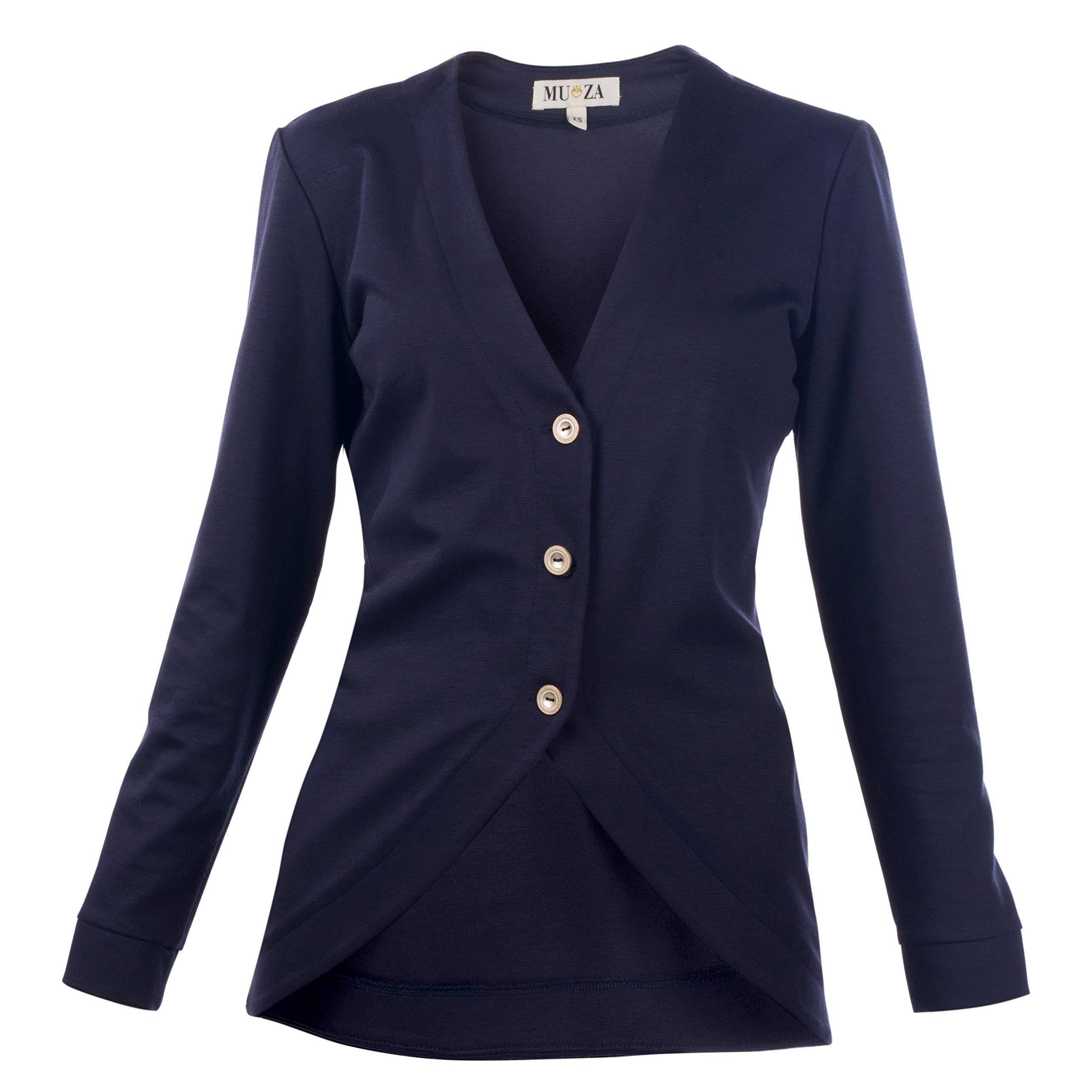 Navy Button Up Cardigan Casual Blazer Women's Jersey Jacket