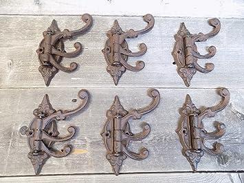 "3 Large 4 1//4/"" Cast Iron STAR Coat Hooks Towel Rack Western Cowboy Rust"
