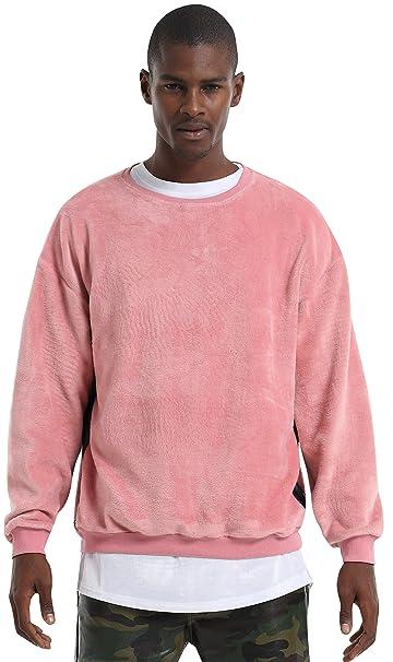 PIZOFF Hombre Hip Hop Urban Sudadera Rosa Slim de Terciopelo con Cuello Redondo Y1537-Pink-XXL: Amazon.es: Ropa y accesorios