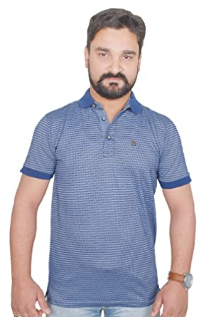 3e4bfb3b4b7 blue printed Striped polo neck half sleeve cotton m size coller ...