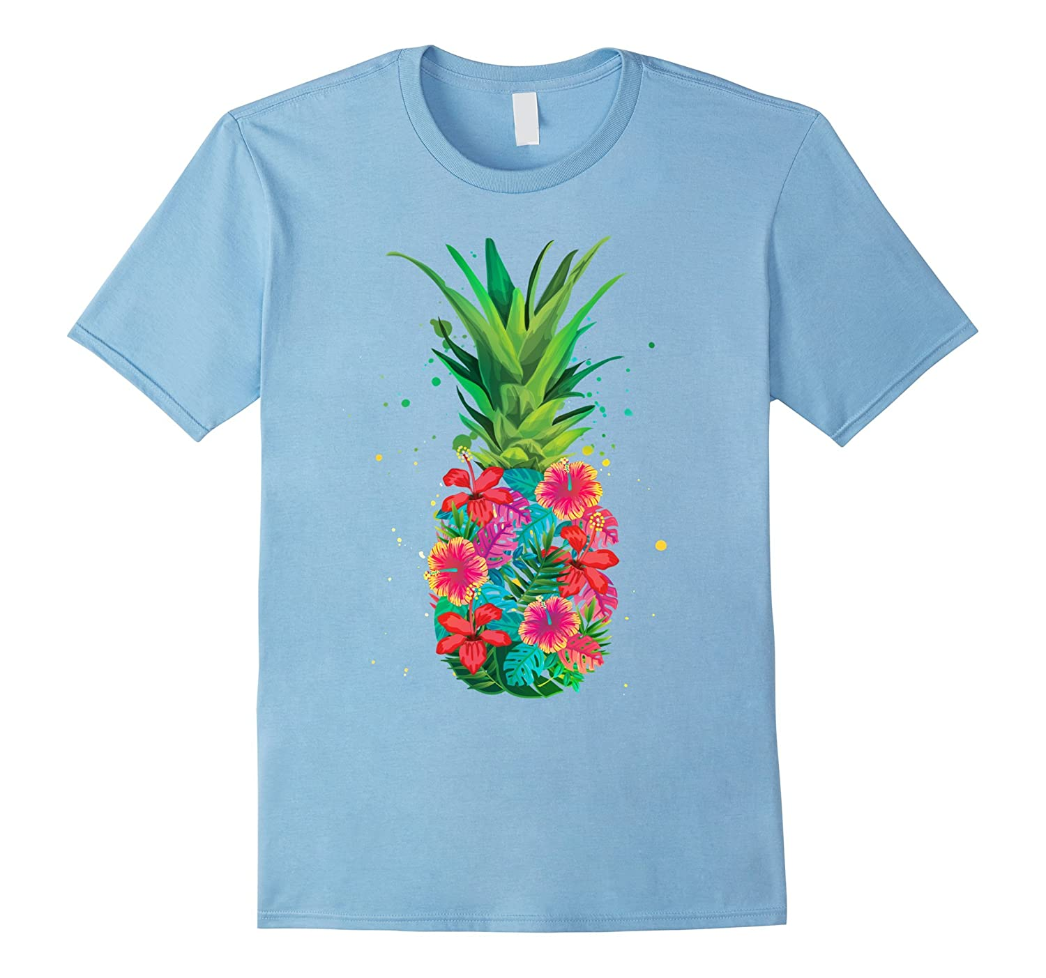 Pineapple Flowers Aloha Hawaii - Vintage Hawaiian Shirt Tee-RT