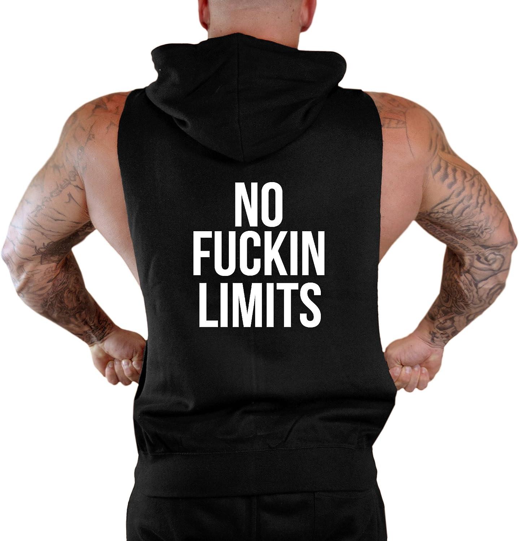 Mens No Fuckin Limits Workout Sleeveless Zipper Hoodie V282