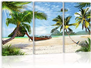 Palm Coconut Tree Wall Art Decor Summer Tropical Boat Beach Island Canvas Painting Kitchen Prints Pictures For Home Living Dining Room