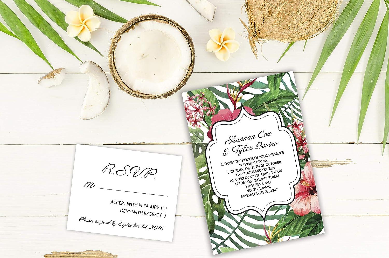 Amazon Com Set Of 5 Five Invites Exotic Love Tropical Wedding
