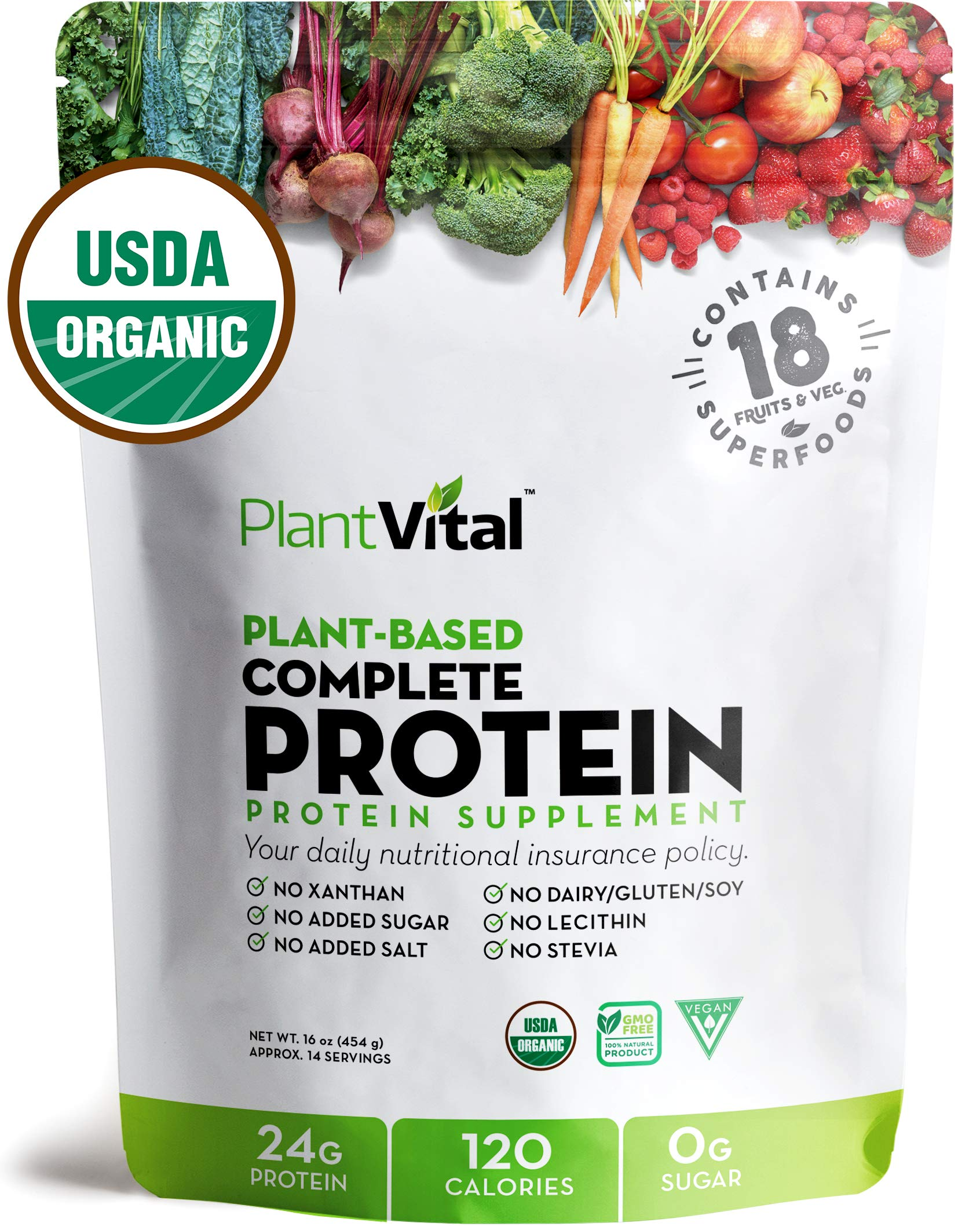 New! Plant Based Protein Powder w 18 SUPERFOODS, Veggies & Probiotics: Kale, Beets, Spirulina & More. Vegan, All BCAA's, Organic, Non-GMO, Gluten Free. 16oz