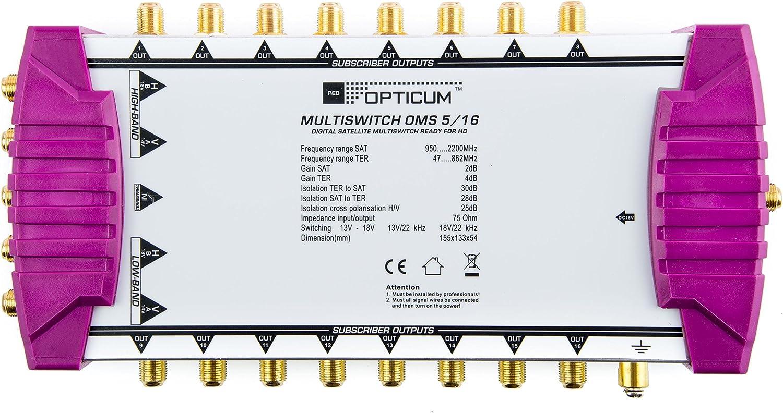 Opticum 3D Commutatore OMS 5//6 per la ricezione di una posizione satellitare fino a 6 utenti // contatti dorati // 4K UHD