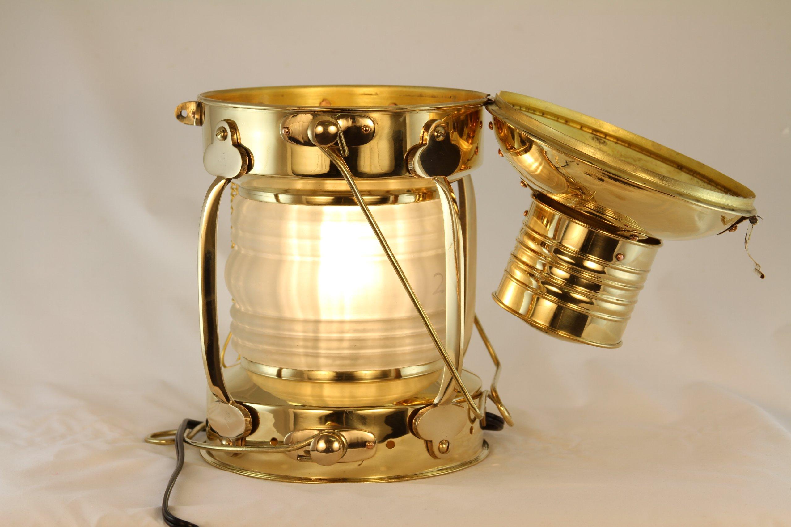 Vermont Lanterns - Electric Nautical Brass Anchor Lamp (12'', Brass)