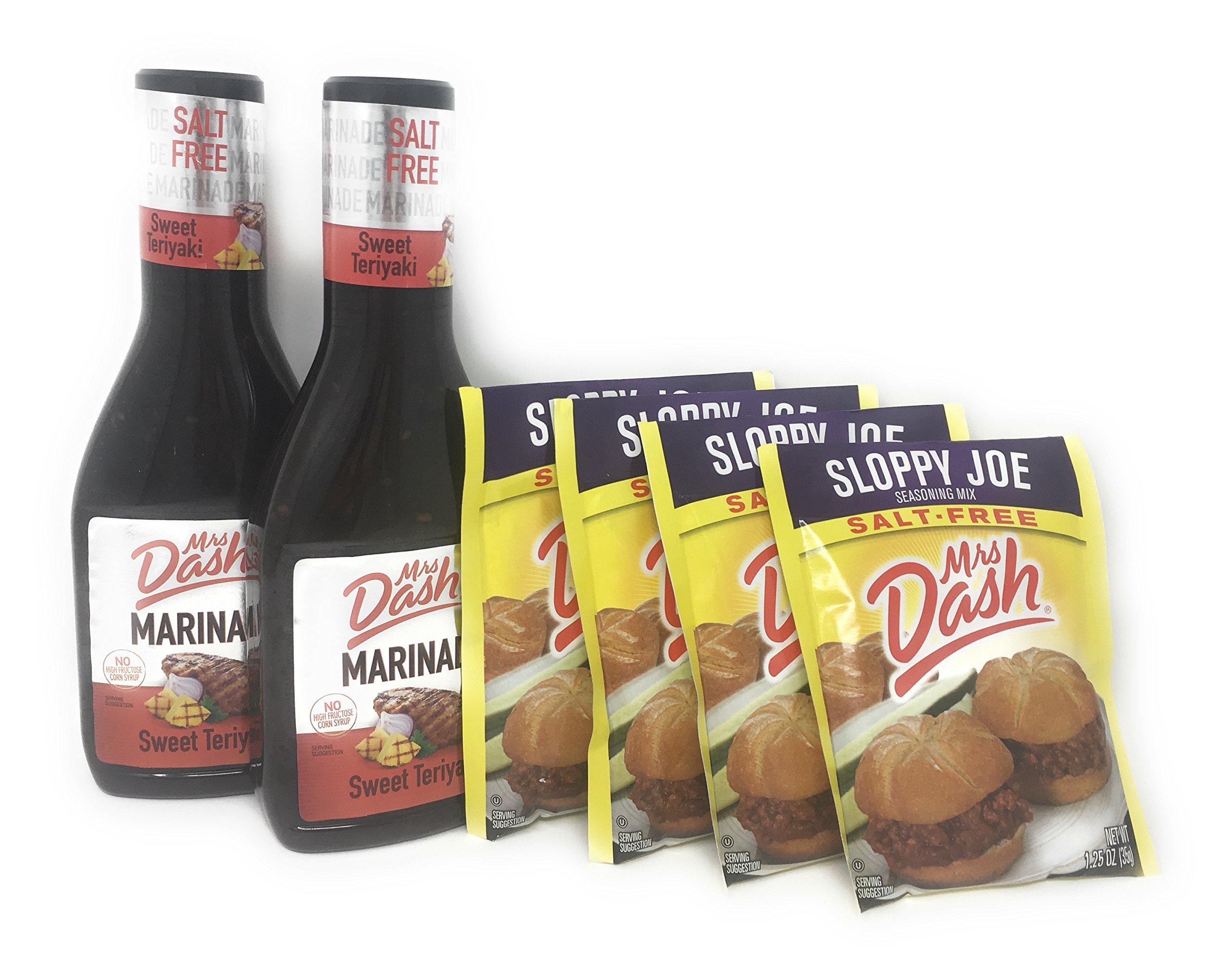 Mrs. Dash Seasoning Bundle: Two Bottles of Salt- Free Sweet Teriyaki Sauce and Four packets of Salt Free Floppy Joe Mix