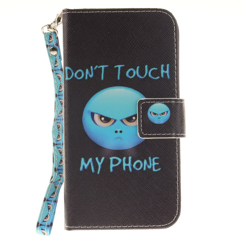 GOCDLJ Coque pour Samsung Galaxy Core Prime G360 PU Case Leather Wallet Flip Cover Mod/èle Couvrir Coverture Cas Sac Coquille Shell Etui Housse Lanyard Strap Conception Fleur de Papillon Bleu