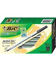 BIC Ecolutions Round Stic Ballpoint Pen, Medium Point (1.0mm), Black, 50-Count