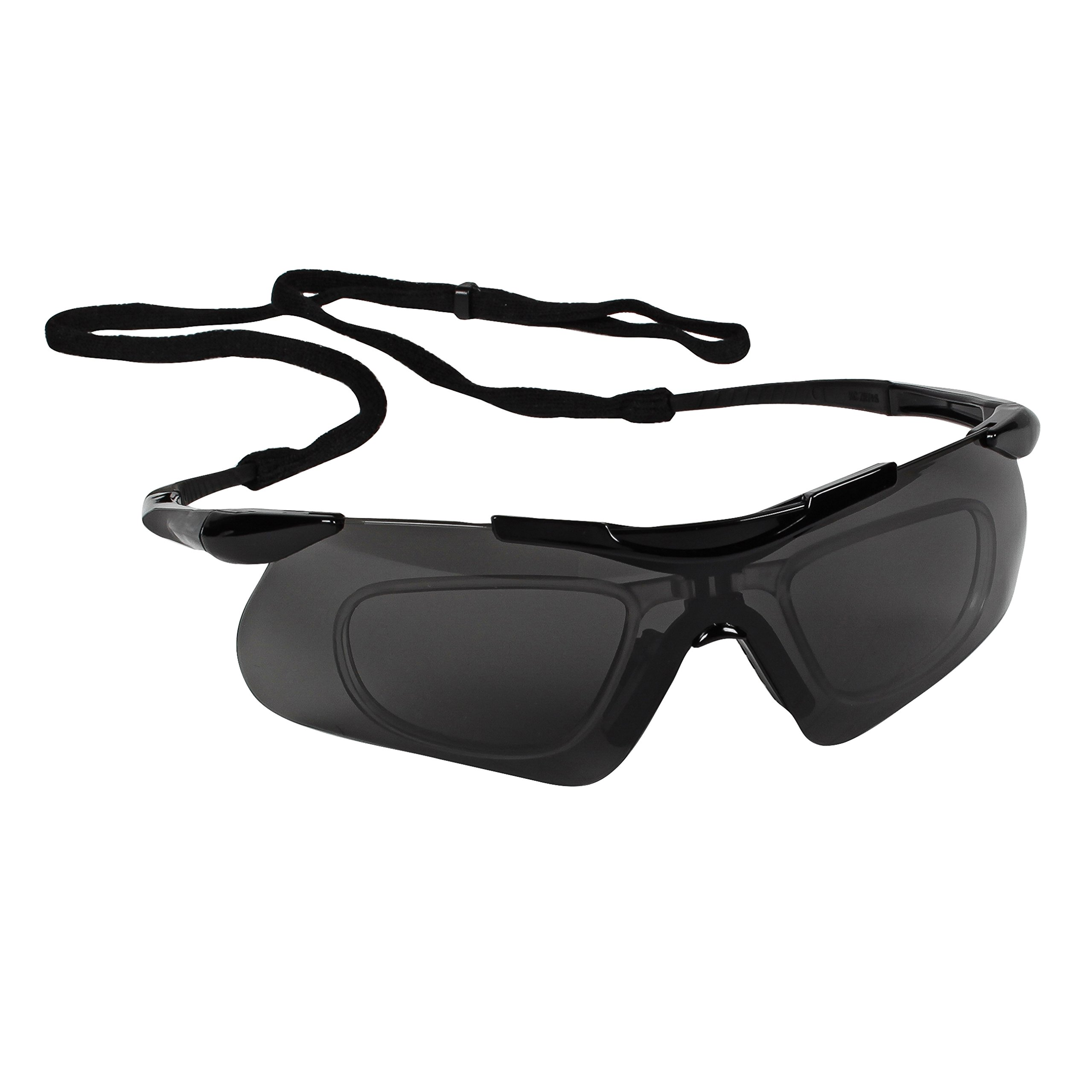 Jackson Safety Nemesis Safety Glasses with Rx Inserts (38505), OTG Protective Glasses, Smoke Anti-Fog Lenses, Black Frame, 12 Pairs / Case