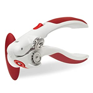 ZYLISS Lock N' Lift Manual Can Opener with Lid Lifter Magnet, Red