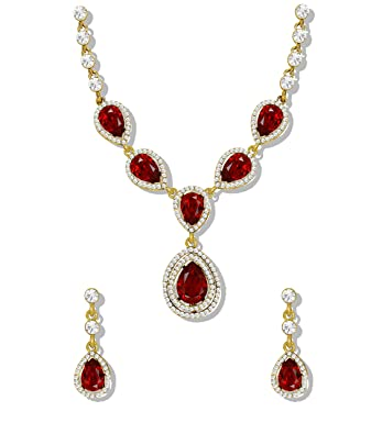 c5ac22c12 Buy Zaveri Pearls Jewellery Set for Women (Red) (ZPFK5210) Online at Low  Prices in India