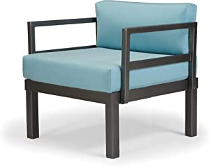 Telescope Casual Furniture Ashbee Aluminum Sectional Cushion Arm Chair with 2 Detachable Connection Clips, Mango, Textured Kona Finish