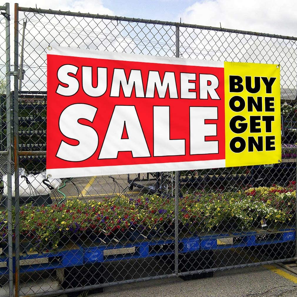 Vinyl Banner Multiple Sizes Summer Sale Buy 1 Get Business Outdoor Weatherproof Industrial Yard Signs White Red 8 Grommets 48x96Inches